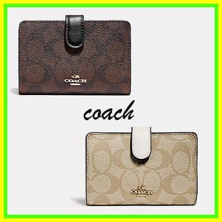 コーチ(COACH)のコーチ☆coach シグネチャー キャンバス ジップ 折り 財布(財布)