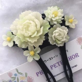 髪飾り 牡丹  桜 かんざし バチ型 KJ218071302 パール