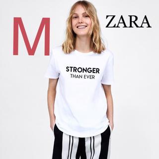 ザラ(ZARA)のZARA フロント テキスト ロゴ Tシャツ M(Tシャツ(半袖/袖なし))
