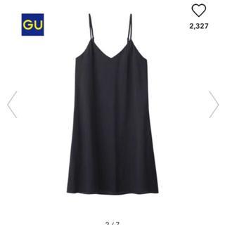 GU - キャミ キャミソール ワンピース vネック ブラック 黒