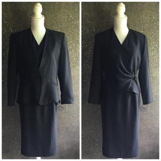 153 COLLECTION☆ブラックフォーマル3点セット スカートスーツ(礼服/喪服)