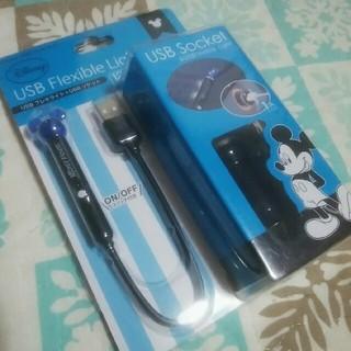 ディズニー(Disney)の定価1728円★ミニーUSB Flexlble Light ディズニー★ブルー (車内アクセサリ)
