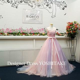 ウエディングドレス(パニエ無料) ピンク虹色ドレス 二次会/披露宴(ウェディングドレス)