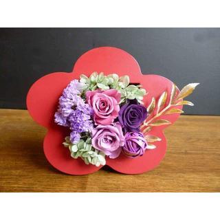 【和プリ】3WAY 赤いお花のお飾り(プリザーブドフラワー)