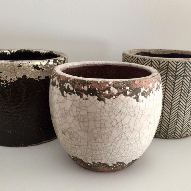 植木鉢 陶器 プランター 鉢カバー シルバー ブラック ハンドメイドのフラワー/ガーデン(プランター)の商品写真