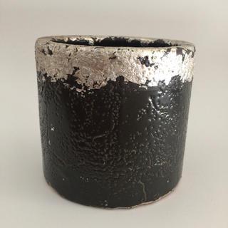 植木鉢 陶器 プランター 鉢カバー シルバー ブラック(プランター)