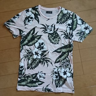 ザラ(ZARA)のZARA MAN プリント ピンク ドクロ  Tシャツ S メンズ(Tシャツ/カットソー(半袖/袖なし))