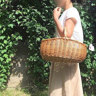 柳かご 大きいサイズ 買い物かご ピクニックバスケット レース布付き オーバル(かごバッグ/ストローバッグ)
