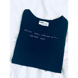 ザラ(ZARA)のZARA  ロゴTシャツ ブラック(Tシャツ(半袖/袖なし))