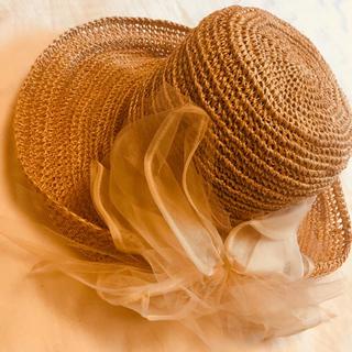 カシラ(CA4LA)のCA4LA チュールりぼん麦わら帽子(麦わら帽子/ストローハット)