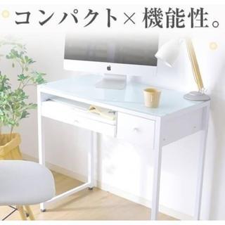【送料無料】天板がオシャレなネイルデスク☆コンセント付き(オフィス/パソコンデスク)