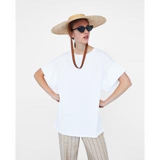 ザラ(ZARA)の新品 完売品 ZARA L 袖口ロールアップ オーバーサイズ Tシャツ(Tシャツ(半袖/袖なし))