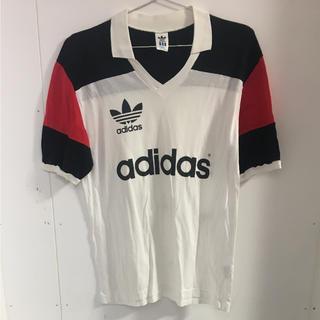 アディダス(adidas)のアディダス adidas 白×黒×赤 VネックTシャツ(Tシャツ/カットソー(半袖/袖なし))