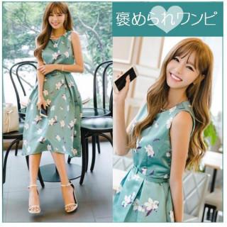 ドレス M 緑 フラワー柄 ノースリーブ Aライン 上品ワンピ ひざ下 フレア(ひざ丈ワンピース)