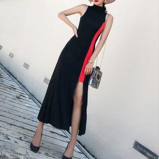 バイカラー ロング スリット ドレス ワンピース パーティー ノースリーブ(ロングワンピース/マキシワンピース)
