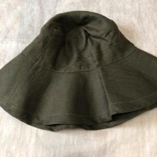 フォグリネンワーク(fog linen work)のfog フォグ リネン 帽子 セピア カーキ、ブラウン 美品!(ハット)