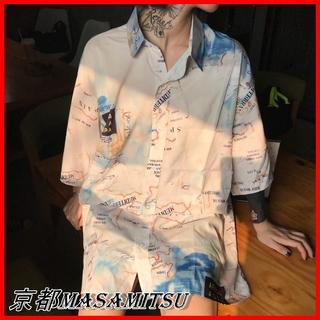 即納 地図 プリント シャツ ブラウス ビッグサイズ 柄シャツ 大きいサイズ (Tシャツ(半袖/袖なし))