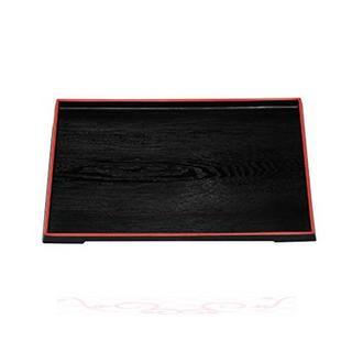 若泉漆器 割烹漆器 ダイヤ木目盆 黒天朱 ノンスリップ加工 尺2寸 1(テーブル用品)