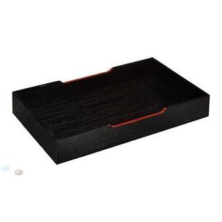 山下工芸(Yamasita craft) 唐草黒ヌリ盆 14×23×3(テーブル用品)