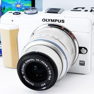★超コンパクトで可愛いホワイト★オリンパス E-PL1S レンズ付き(ミラーレス一眼)