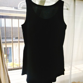 エモダ(EMODA)のEMODA ノースリーブ カットソー トップス タンクトップ ブラック(カットソー(半袖/袖なし))