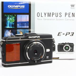 オリンパス(OLYMPUS)の24h以内即日発送❤️オリンパス E-P3 ブラック レンズキット♪(ミラーレス一眼)
