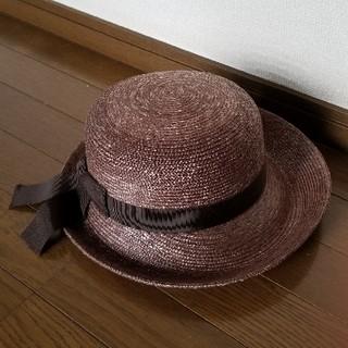 新品★田中帽子謹製★麦わら帽子 焦げ茶色(麦わら帽子/ストローハット)