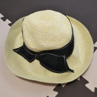 小顔効果 リボンつば麦わら帽子 120%日焼け防止(麦わら帽子/ストローハット)