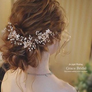 パール仕立てのお花の小枝ヘッドドレス ゴールド(ウェディングドレス)