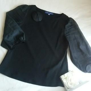 エムズグレイシー(M'S GRACY)のカメリアコサージュ付♡シフォン袖トップス(Tシャツ(長袖/七分))