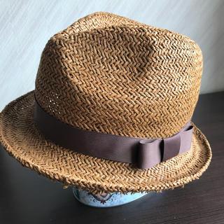 麦わら帽子 ストローハット レディース ブラウン 古着 夏物 春物(麦わら帽子/ストローハット)