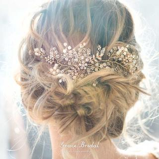 ウェディングヘアアクセサリー リーフの小枝ヘッドドレス V-GOLD(ウェディングドレス)