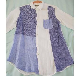 ユナイテッドアローズ(UNITED ARROWS)のUSED美品☆UNITED ARROWS ブルー×ホワイト麻の長袖シャツ(Tシャツ/カットソー(七分/長袖))