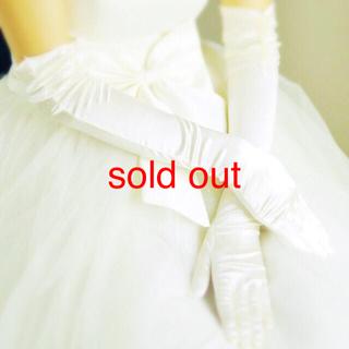 セミロング ビジュー ギャザー シンプル ウエディンググローブ オフホワイト(ウェディングドレス)