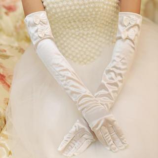 ミディアム丈 リボン ビジュー ウエディンググローブ オフホワイト(ウェディングドレス)