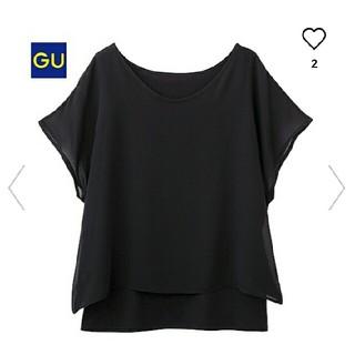 GU - レイヤードT(半袖)B XL ブラック×ブラック