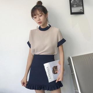 ゴゴシング(GOGOSING)の新品未使用シフォンブラウス+ハイウエストスカート 韓国通販(セット/コーデ)