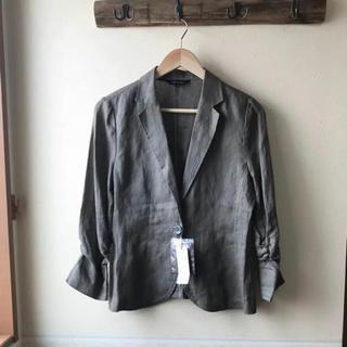 新品 GALLORIA レディース ジャケット リネン100% 11号(テーラードジャケット)