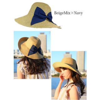 【紫外線対策☆UVハット】 麦わら帽子 UV 折りたたみ帽子 つば広 ハット(麦わら帽子/ストローハット)