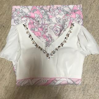 キャバ ワンピ ドレス ビジュー ピンク × 花柄 Mサイズ(ナイトドレス)