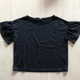 ジーユー(GU)のGU フリルスリーブTシャツ ブラック(カットソー(半袖/袖なし))