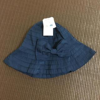帽子 リボン 新品 未使用 ネイビー 濃紺 UV加工 早い者勝ち(麦わら帽子/ストローハット)