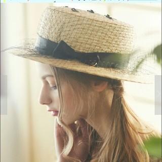 メゾンドフルール(Maison de FLEUR)の新品💝タグつき ネットサテンリボンカンカン帽子(麦わら帽子/ストローハット)