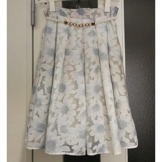 【7/28処分】花柄オーガンジースカート ベルト付き セシルマクビー風(ひざ丈スカート)