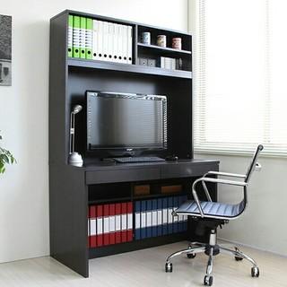 デスク 上下棚付き 幅110cm ダークブラウン パソコンデスク 学習机 机(オフィス/パソコンデスク)