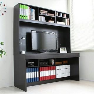 デスク 上下棚付き 幅140cm ダークブラウン パソコンデスク 学習机 机(オフィス/パソコンデスク)