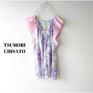 ツモリチサト(TSUMORI CHISATO)のツモリチサト★シャーリングチュニックトップス 2 水色×ピンク エイネット(チュニック)