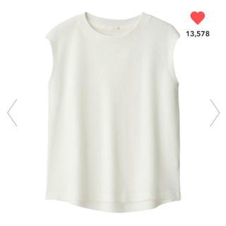 ジーユー(GU)の【完売品】GU ワッフルスリーブレスT オフホワイト XL(カットソー(半袖/袖なし))