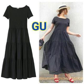 GU - 新品タグ付き☆ 布帛コンビネーションワンピース(半袖)GN