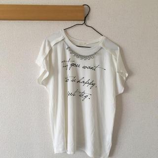 ジーユー(GU)のビジュー付き半袖シャツ(カットソー(半袖/袖なし))